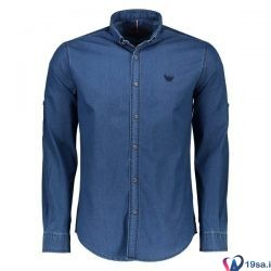 پیراهن آبی نفتی مردانه