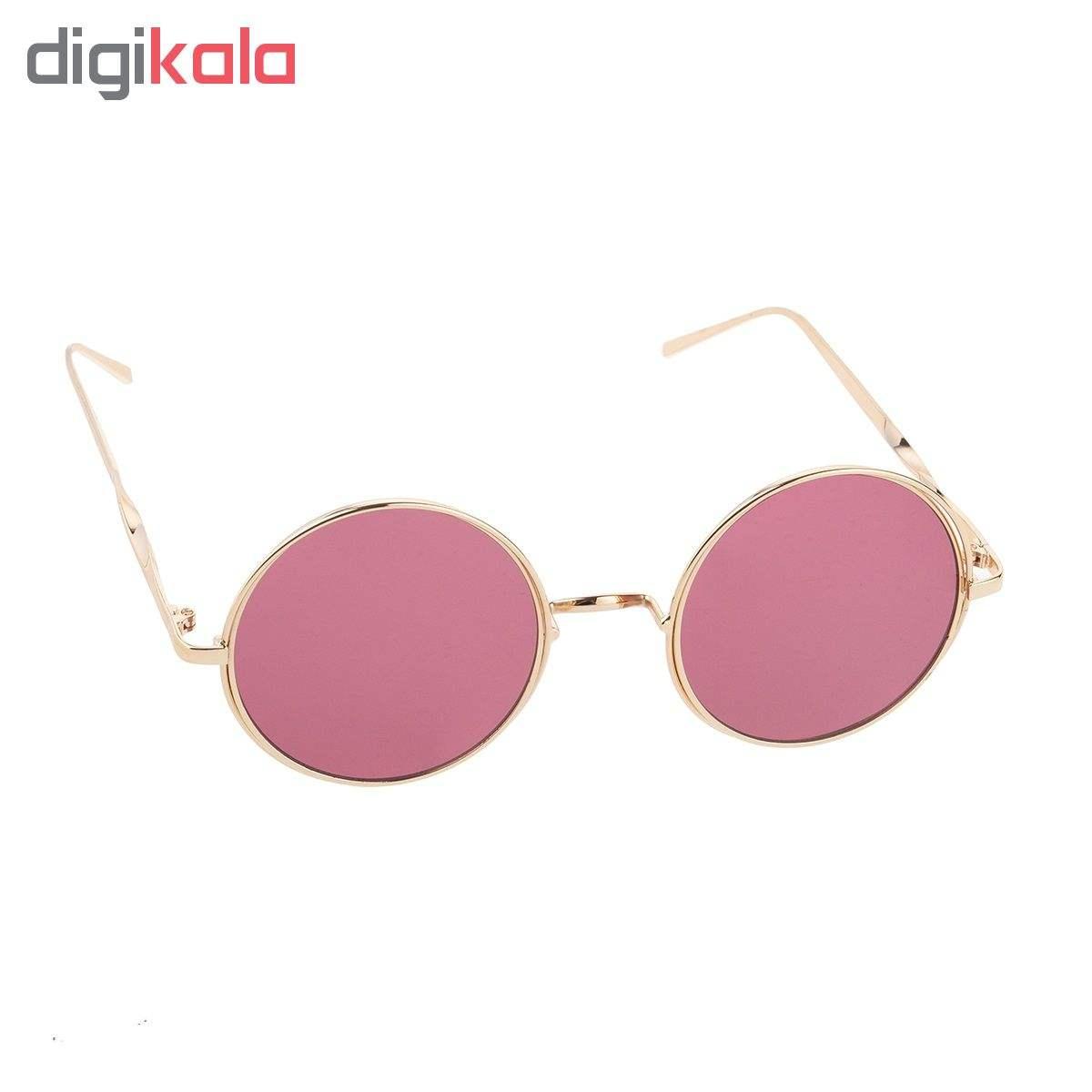 عینک آفتابی زنانه فرم گرد طلایی